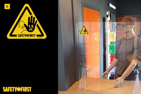 A-klasse raamsticker Coronabescherming HAND HOUD AFSTAND 15x17cm raam sticker
